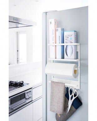 ホワイト マグネット冷蔵庫サイドラック プレート見る