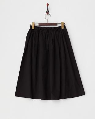 ブラック ポケット付ミモレ丈スカート見る