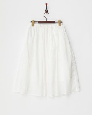 オフホワイト  ライトリップストップギャザーミディスカート見る