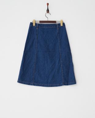 インディゴ  ポケットデニムミディスカート見る