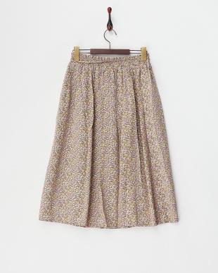 ピンク  フラワープリントギャザースカート見る