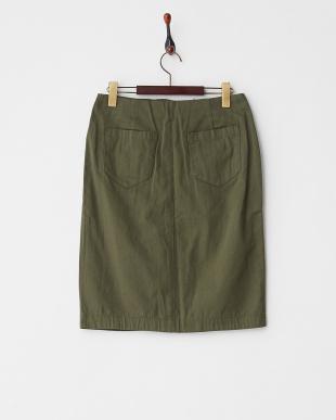 Khaki  ボックスタック膝丈スカート見る