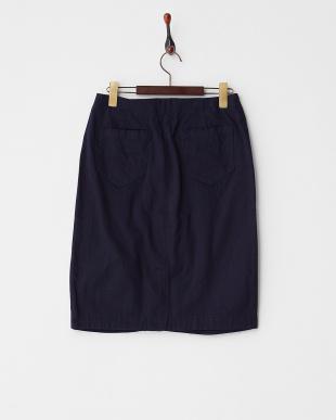 Navy  ボックスタック膝丈スカート見る