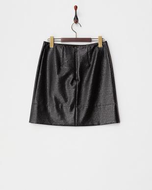 BLACK サイドスリット 光沢スカート見る