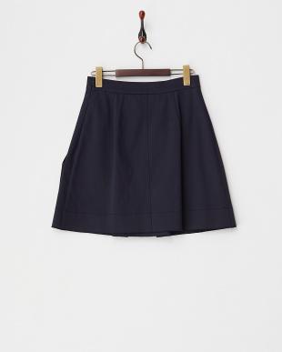 BLUE 光沢Lポケット ボックスプリーツスカート見る