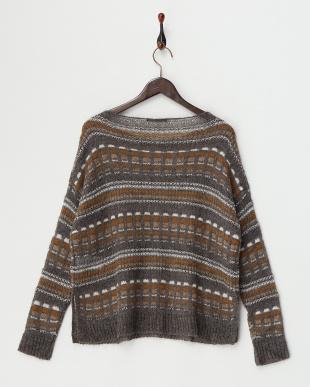 DARK GREY AMACA Sweater・ラメ糸混見る