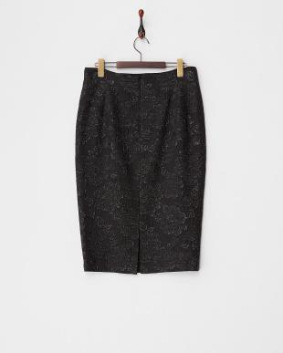 メタリックブラック CREARE シルク混スカート見る