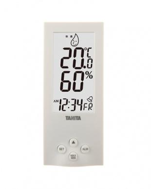 ホワイト 置き式デジタル温湿度計見る