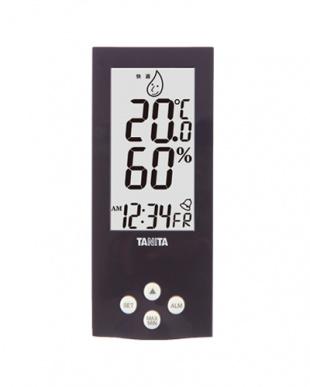 パープル 置き式デジタル温湿度計見る