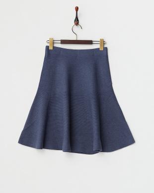 ブルー ホールガーメントニットスカート見る