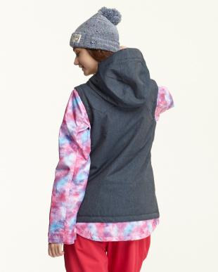 ピンク タイダイ柄×デニム調ベスト重ね着風スノージャケット見る