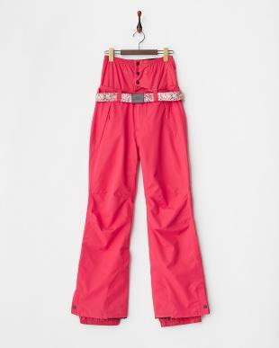 ピンク レギュラーフィット 柄ベルト付きスノーパンツ見る