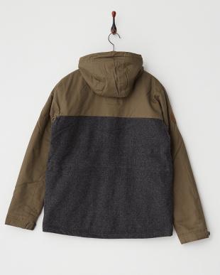 カーキ×グレー 3M Thinsulate 異素材切り替えフーデッド中綿ジャケット見る