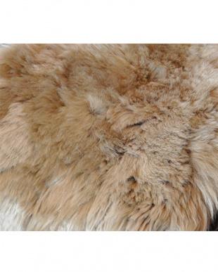 ブラウン  ムートン長毛ロングシートクッション約35×105cm見る
