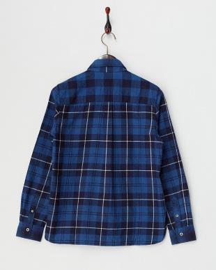 ブルー インディゴクレージーパターンシャツ見る