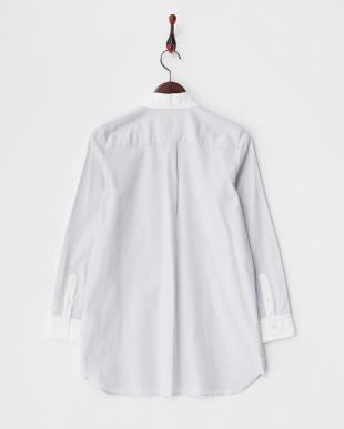 ライトグレー バイカラー オックスフォードチュニックシャツ見る