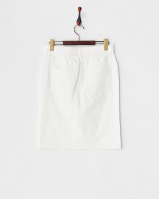 ホワイト  サテンストレッチ タイトスカート見る
