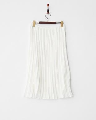 ホワイト  プリーツミディスカート見る