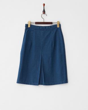ブルー ボックスプリーツスカート見る