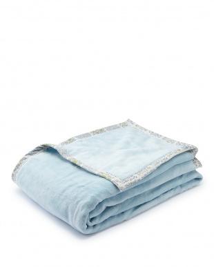 ブルー  プレオーガニックコットン 綿毛布見る