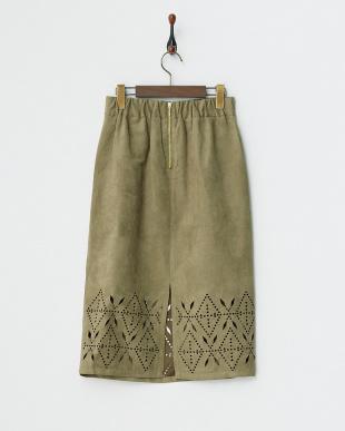 オリーブ  スエード風スカート見る
