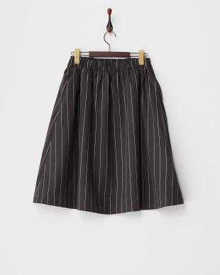 ブラック ストライプフレアスカート見る