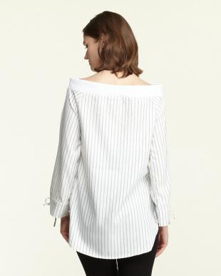 WH/BLK  リブオフショルシャツ見る