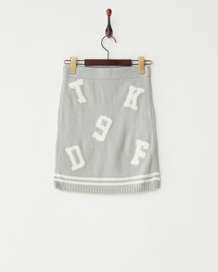 WH/GRY  ナンバーロゴニットスカート見る