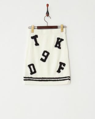 BK/WH  ナンバーロゴニットスカート見る