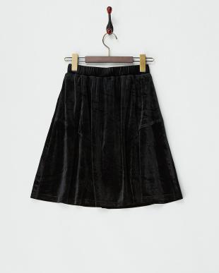 ブラック ベロア調フレアスカート見る