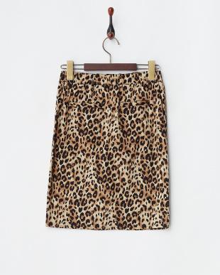 ベージュ  レオパード柄ジップスカート見る