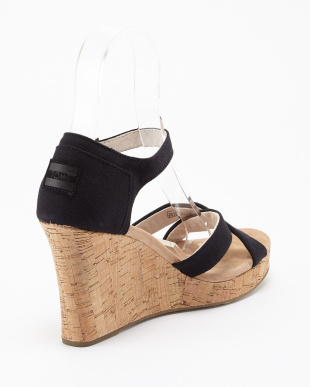 Black Canvas Cork STRAPPY WEDGE見る
