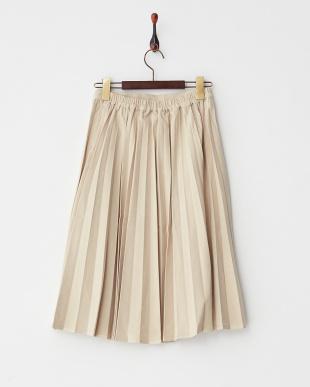 ベージュ  膝下丈スエード調プリーツスカート見る