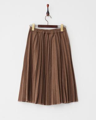 ブラウン  膝下丈スエード調プリーツスカート見る