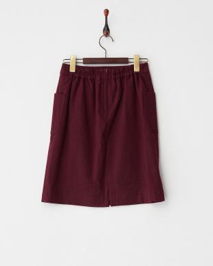 ボルドー  ポケ付Iラインスカート見る
