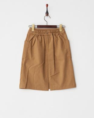 キャメル  ポケ付Iラインスカート見る