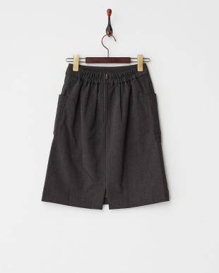 チャコールグレー  ポケ付Iラインスカート見る