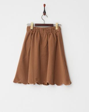 ブラウン  裾スカラップスカート見る