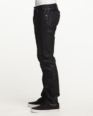 ブラック 配色ステッチジーンズ(5P)見る