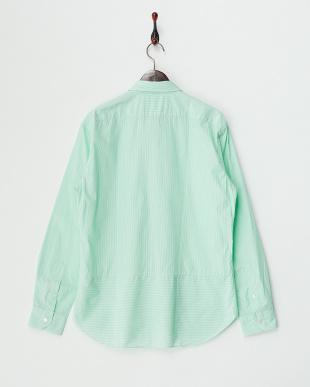 グリーン  切り替えストライプシャツ見る