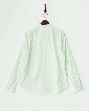 グリーン  スタンドカラーカジュアルシャツ見る