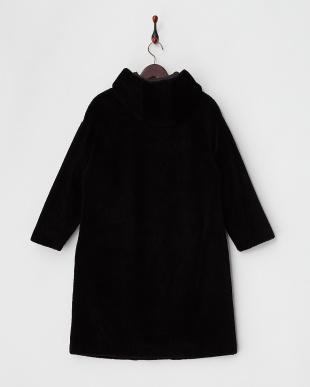 ブラック  配色トリムポケット フード付きムートンコート見る