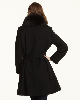 ブラック  カシミヤ混ウールコートフォックス衿付き見る