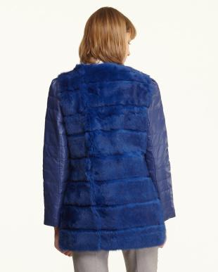 ブルー  ラビット×羊革ジャケット見る