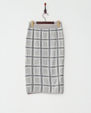 NAVY(グレーベース)  チェックジャガードスカート見る