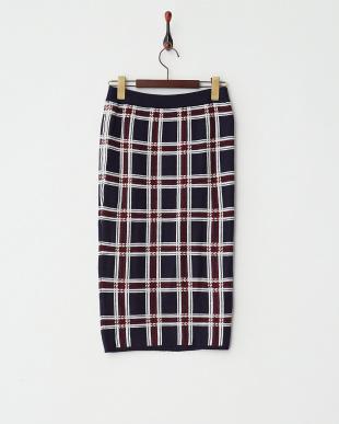 RED(ネイビーベース)  チェックジャガードスカート見る