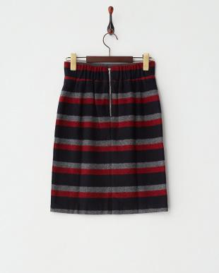 RED ウール混マルチボーダースカート見る