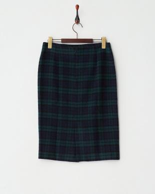 NAVY  ウールチェックタイトスカート見る