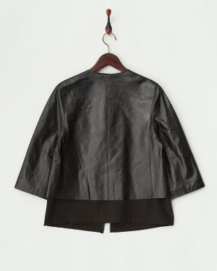 ブラック  ラムレザーレイヤードジャケット見る
