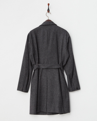 CHARCOAL  WOOL HERRINGBONE STAND COLLAR COAT見る